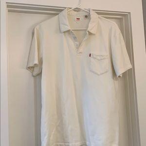 Men's Levi's Cream Polo Shirt, Size Lg